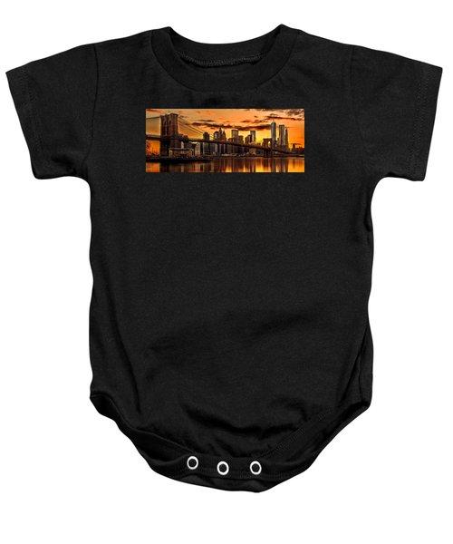Fiery Sunset Over Manhattan  Baby Onesie by Az Jackson