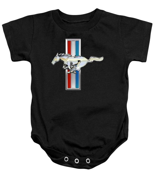 Ford Mustang - Tri Bar And Pony 3 D Badge On Black Baby Onesie by Serge Averbukh