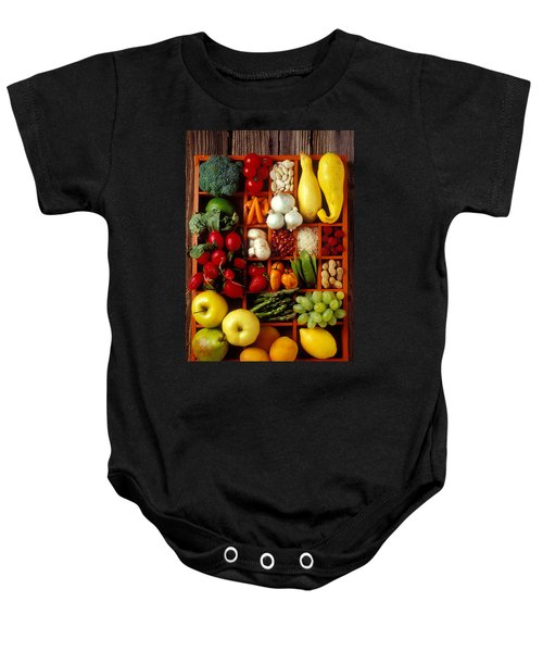 Fruits And Vegetables In Compartments Baby Onesie by Garry Gay