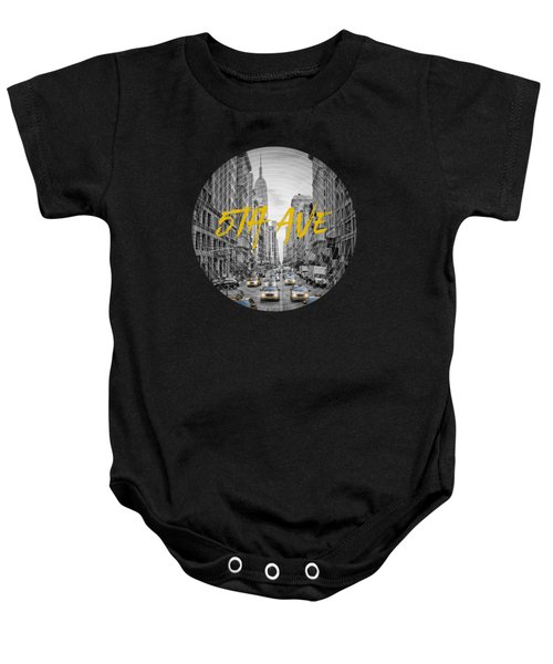 Graphic Art Nyc 5th Avenue Yellow Cabs Baby Onesie by Melanie Viola