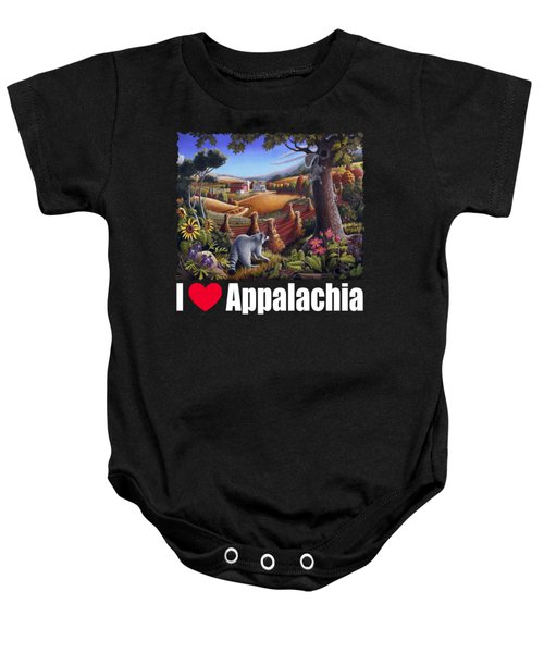 I Love Appalachia T Shirt - Coon Gap Holler 2 - Country Farm Landscape Baby Onesie by Walt Curlee