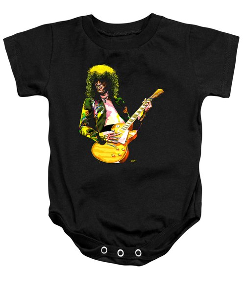 Jimmy Page Of Led Zeppelin Baby Onesie by GOP Art