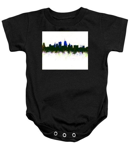 Kansas City Skyline Blue  Baby Onesie by Enki Art