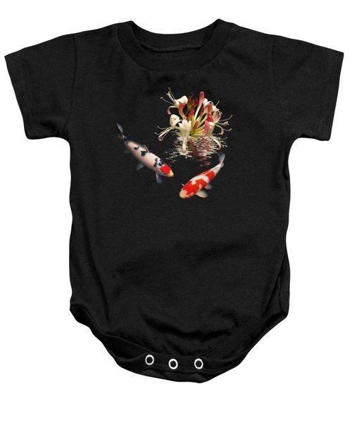 Koi With Honeysuckle Reflections Square Baby Onesie by Gill Billington
