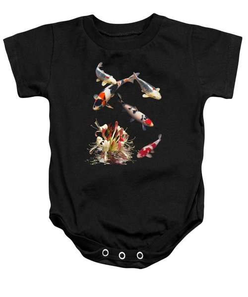 Koi With Honeysuckle Reflections Vertical Baby Onesie by Gill Billington