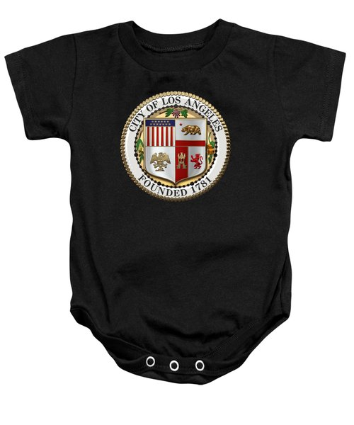 Los Angeles City Seal Over Black Velvet Baby Onesie by Serge Averbukh