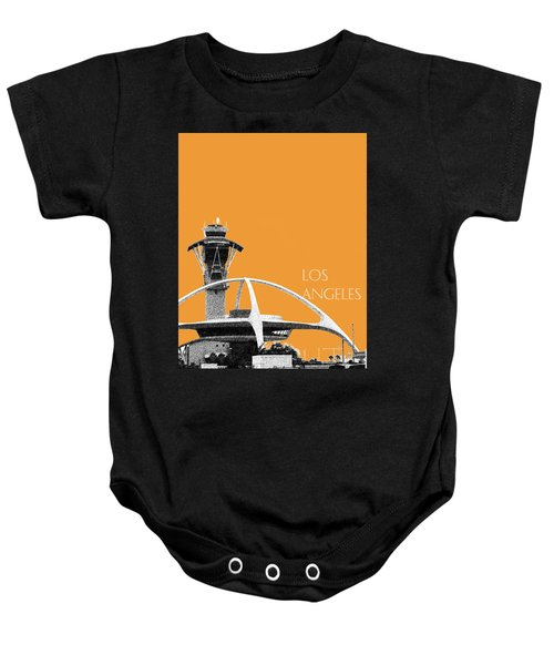 Los Angeles Skyline Lax Spider - Orange Baby Onesie by DB Artist