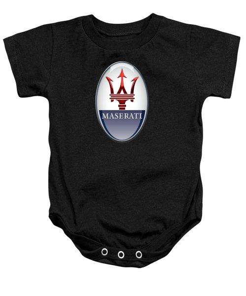 Maserati - 3d Badge On Black Baby Onesie by Serge Averbukh