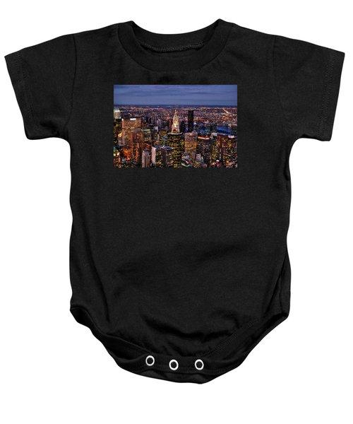 Midtown Skyline At Dusk Baby Onesie by Randy Aveille