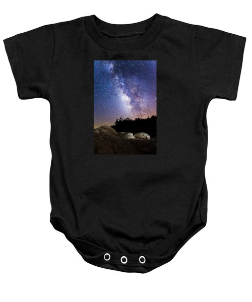 Milky Way Over A Western Diamondback Rattlesnake Baby Onesie by Chuck Brown