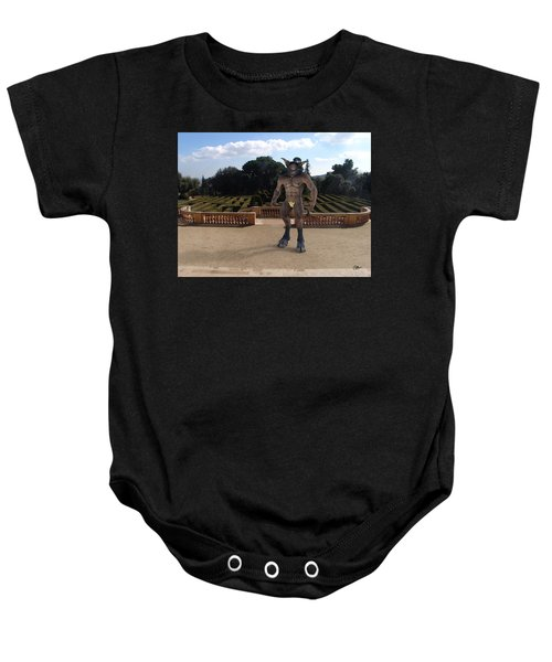 Minotaur In The Labyrinth Park Barcelona. Baby Onesie by Joaquin Abella