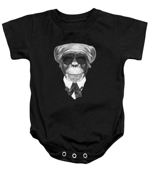 Monkey In Black Baby Onesie by Marco Sousa