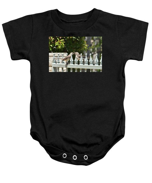 Mr And Mrs Mockingbird With Worms Baby Onesie by Linda Brody