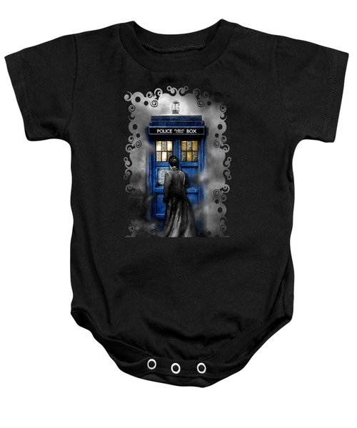 Mysterious Time Traveller With Black Jacket Baby Onesie by Three Second