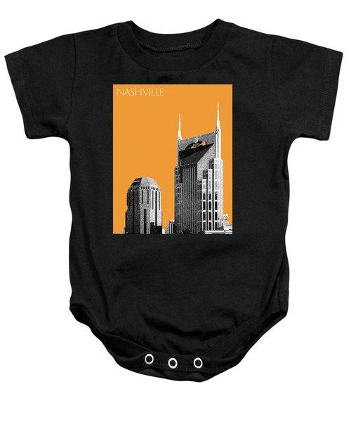 Nashville Skyline At And T Batman Building - Orange Baby Onesie by DB Artist