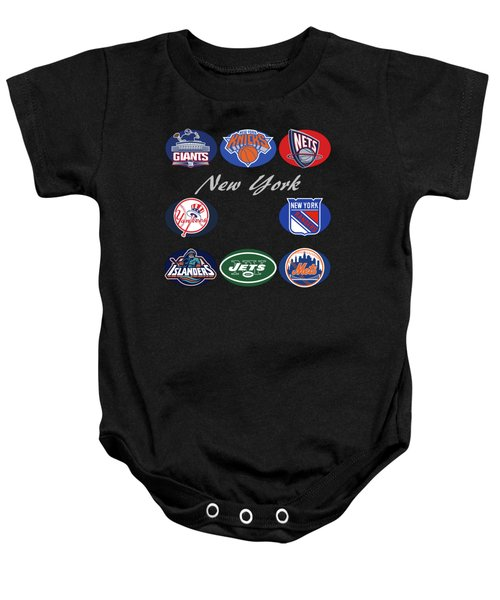 New York Professional Sport Teams Collage  Baby Onesie by Movie Poster Prints