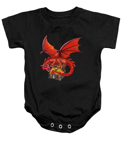Red Dragon's Treasure Chest Baby Onesie by Glenn Holbrook