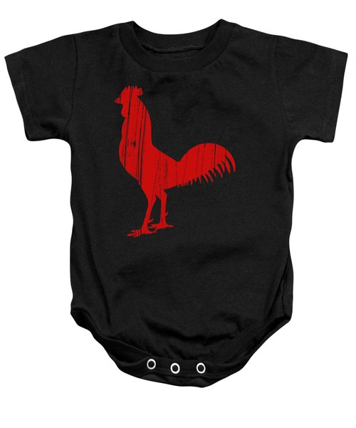 Red Rooster Tee Baby Onesie by Edward Fielding