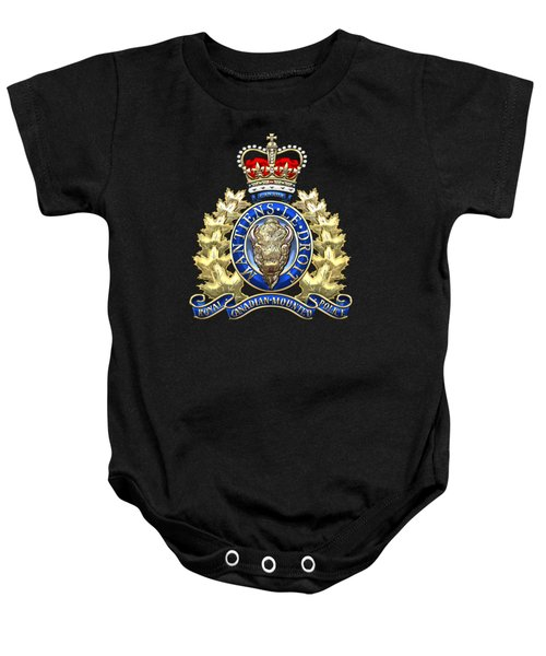 Royal Canadian Mounted Police - Rcmp Badge On Black Leather Baby Onesie by Serge Averbukh
