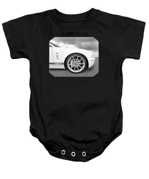 Shelby Gt500 Wheel Black And White Baby Onesie by Gill Billington