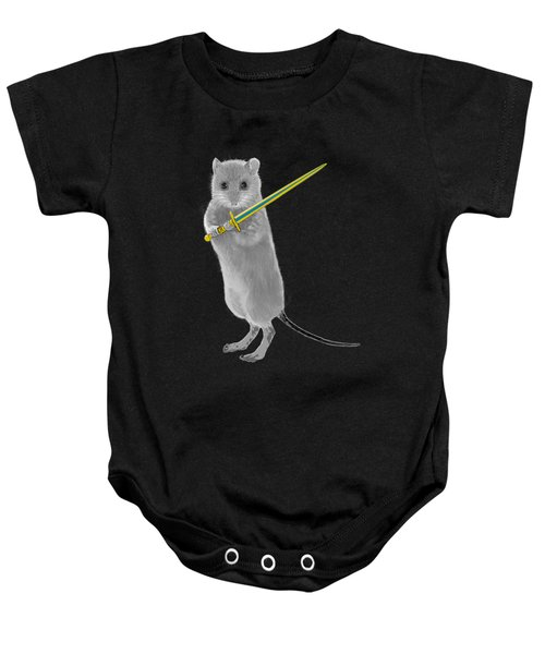 Squeaky, Warrior Mouse Baby Onesie by Susan Eileen Evans