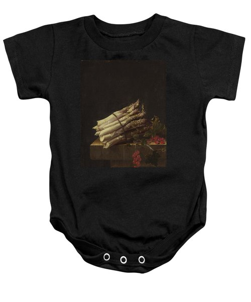 Still Life With Asparagus And Red Currants Baby Onesie by Adriaen Coorte