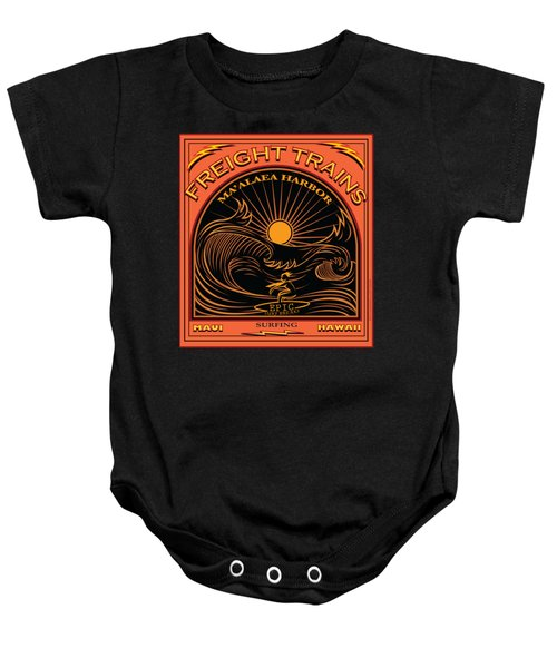 Surfer Freight Trains Maui Hawaii Baby Onesie by Larry Butterworth