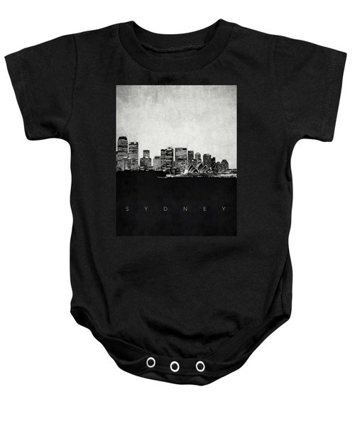 Sydney City Skyline With Opera House Baby Onesie by World Art Prints And Designs