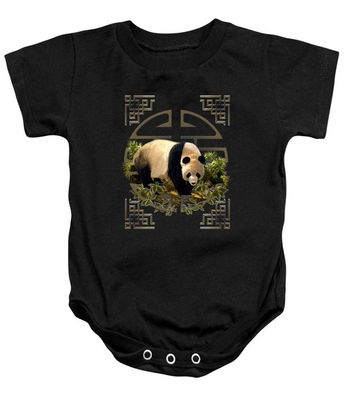 The Panda Bear And The Great Wall Of China Baby Onesie by Regina Femrite