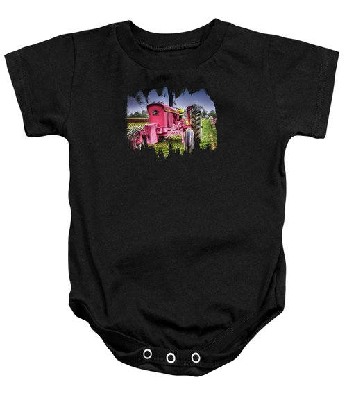 The Pink Tractor At The Wooden Shoe Tulip Farm Baby Onesie by Thom Zehrfeld