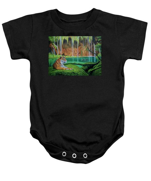 Tiger At The Waterfall  Baby Onesie by Manuel Lopez