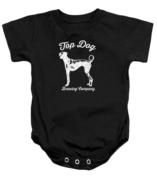Top Dog Brewing Company Tee White Ink Baby Onesie by Edward Fielding