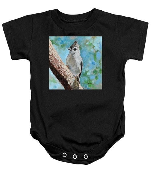 Tufted Titmouse #1 Baby Onesie by Amber Foote