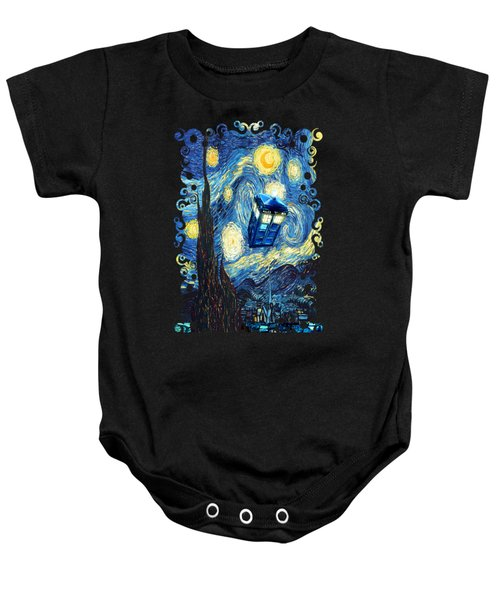 Weird Flying Phone Booth Starry The Night Baby Onesie by Three Second