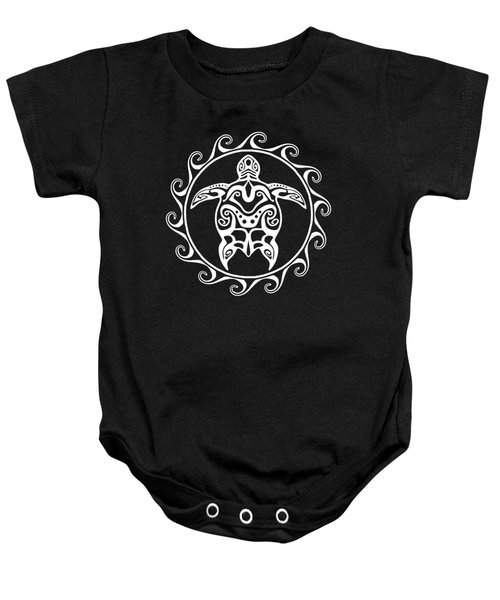 White Tribal Turtle Baby Onesie by Chris MacDonald