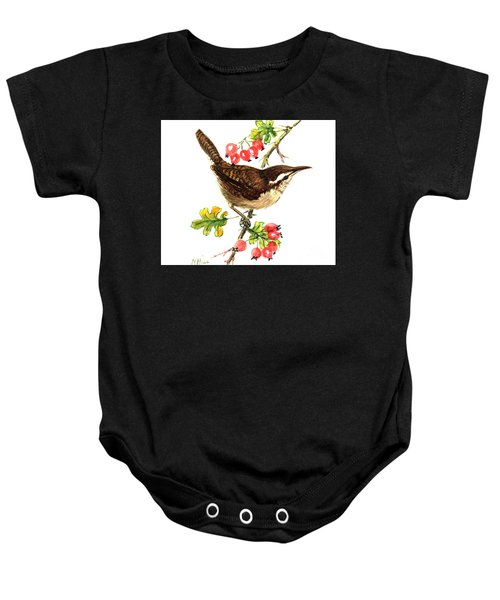 Wren And Rosehips Baby Onesie by Nell Hill