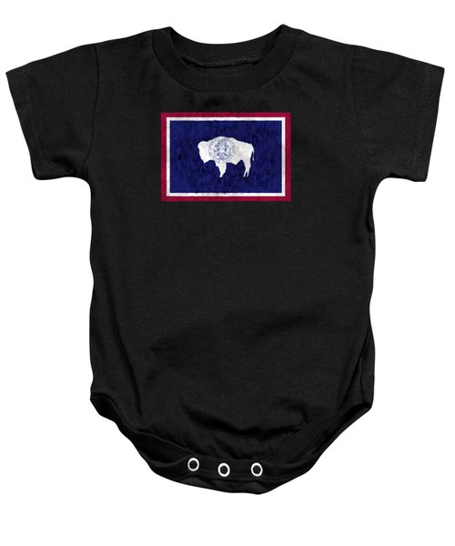 Wyoming Map Art With Flag Design Baby Onesie by World Art Prints And Designs