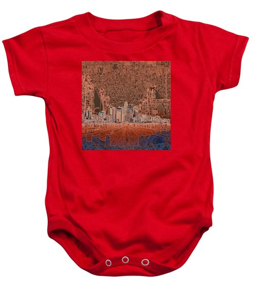 Los Angeles Skyline Abstract 7 Baby Onesie by Bekim Art
