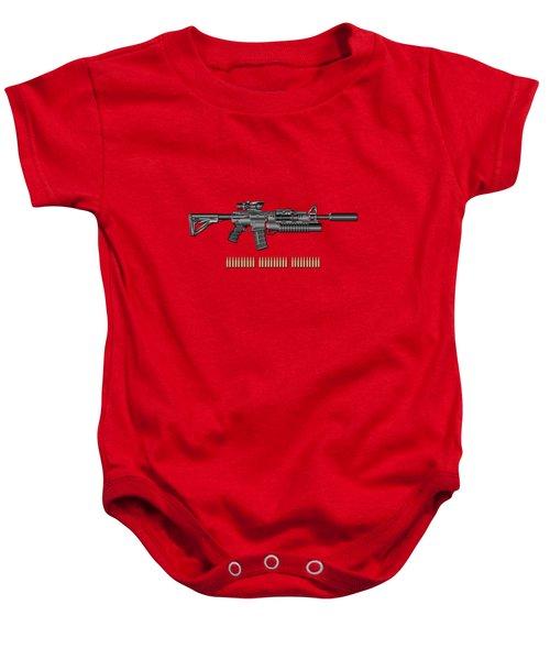Colt  M 4 A 1  S O P M O D Carbine With 5.56 N A T O Rounds On Red Velvet  Baby Onesie by Serge Averbukh