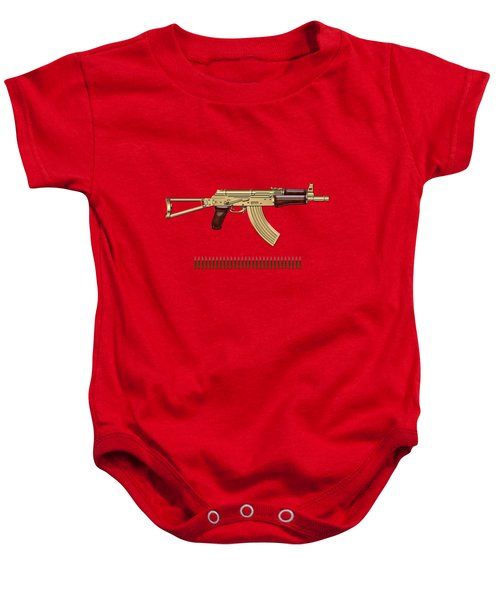 Gold A K S-74 U Assault Rifle With 5.45x39 Rounds Over Red Velvet   Baby Onesie by Serge Averbukh