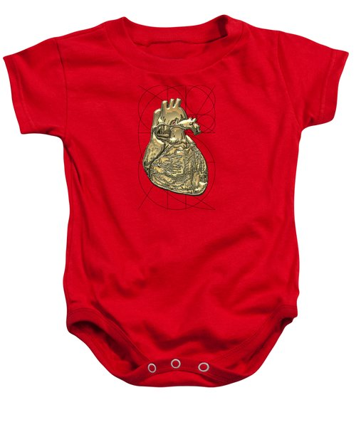 Heart Of Gold - Golden Human Heart On Red Canvas Baby Onesie by Serge Averbukh