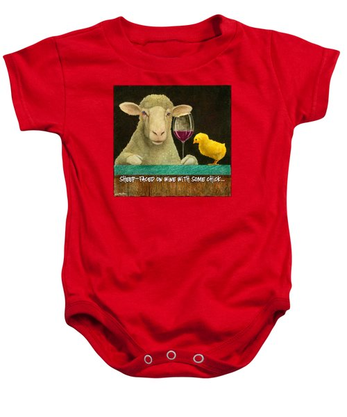 Sheep Faced On Wine With Some Chick... Baby Onesie by Will Bullas