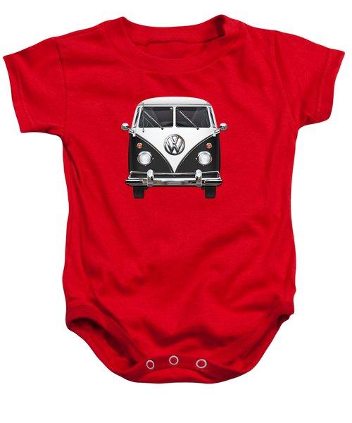 Volkswagen Type 2 - Black And White Volkswagen T 1 Samba Bus On Red  Baby Onesie by Serge Averbukh