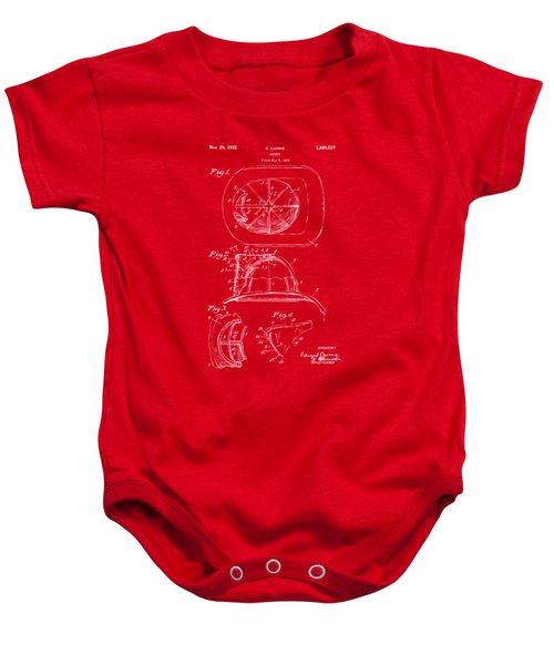 1932 Fireman Helmet Artwork Red Baby Onesie by Nikki Marie Smith