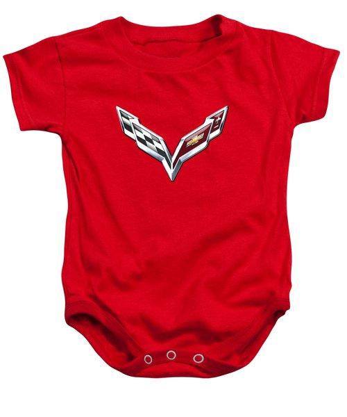 Chevrolet Corvette - 3d Badge On Red Baby Onesie by Serge Averbukh