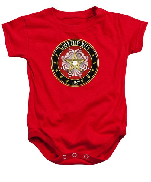 28th Degree - Knight Commander Of The Temple Jewel On Red Leather Baby Onesie by Serge Averbukh