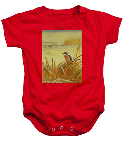 A Kingfisher Amongst Reeds In Winter Baby Onesie by Archibald Thorburn