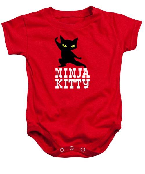 Ninja Kitty Retro Poster Baby Onesie by Monkey Crisis On Mars