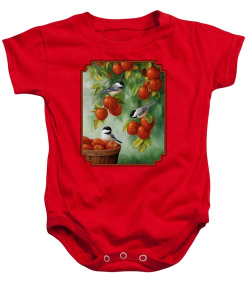 Bird Painting - Apple Harvest Chickadees Baby Onesie by Crista Forest