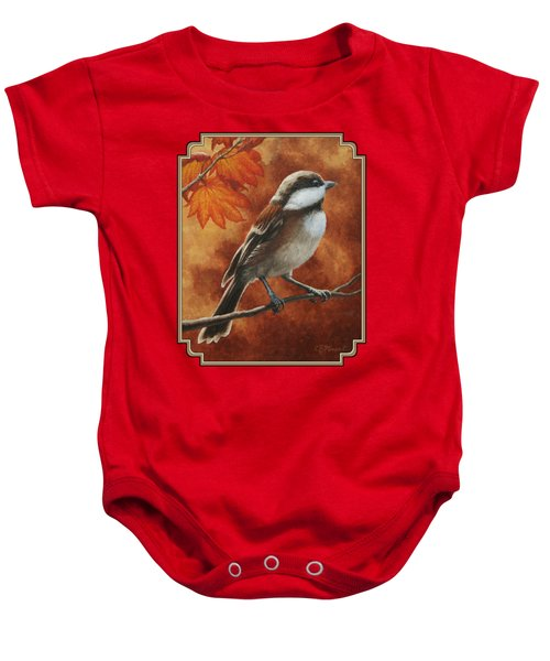 Autumn Chickadee Baby Onesie by Crista Forest